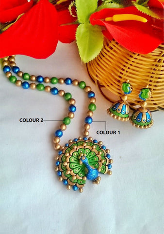 Blue & Green Dancing Peacock Terracotta Jewelry Set