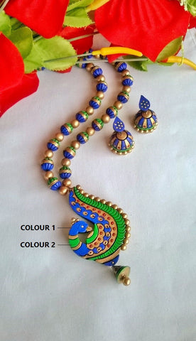 Blue & Green Peacock Terracotta Jewelry Set