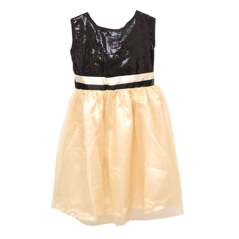 Bubu Black Gold Sequins Party Frock