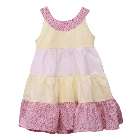Bubu Pink yellow White Tier Frock
