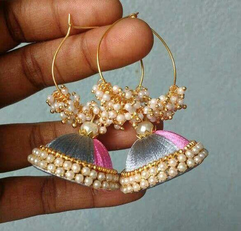 Baby Pink and Gray Beaded Silk Thread Jhumkas
