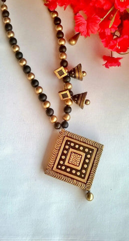 Beige Diamond Terracotta Pendant Set-TJS-055