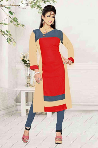 Beige Gray and  Red Long Kurti-KURTI-007