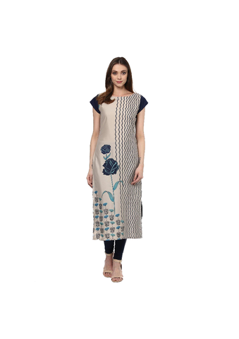 Beige and Black American Crepe Printed Kurti-KURTI-091