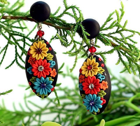 Black Artwork Oval Polymer Clay EarHangings With Stud