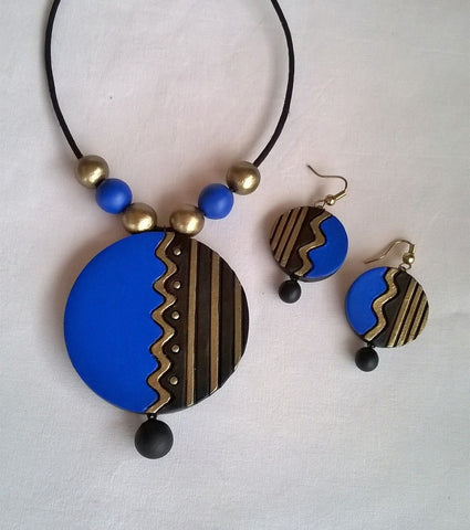 Black & Blue Round Terracotta Jewellery set