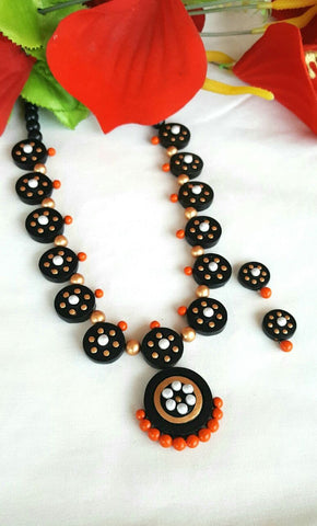 Black Floral Round Button Terracotta Jewellery Set-TJS-069