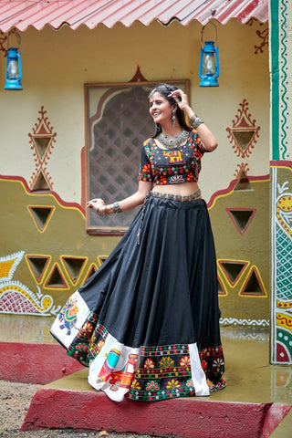 Black Lehenga with Quirky White Designer Border