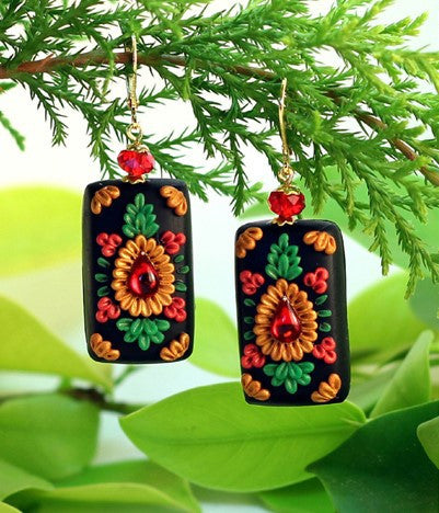 Black Rectangular  Polymer Clay Earrings