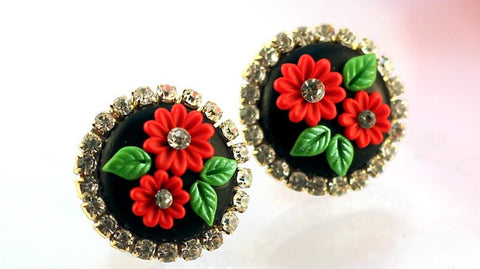 Black Red Rhinestone  Polymer Clay Studs