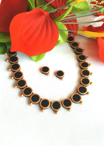 Black Round Button Terracotta Jewellery Set-TJS-072