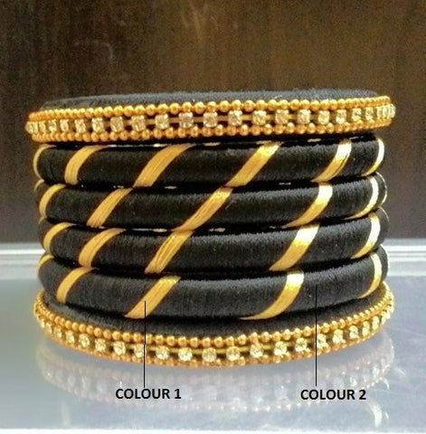 Black and Gold Striped  Silk Thread Bangles