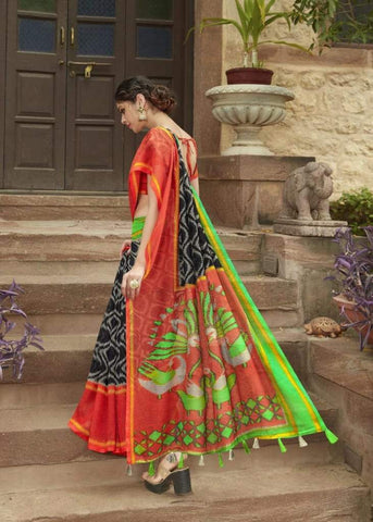 Black and Red Jute Saree-JS007