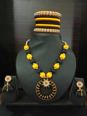 Black and Yellow Chandbali Pendant Silk Thread Jewellery Set-STJSW-100