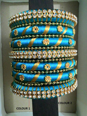 BlueSilk Thread Bangle Set