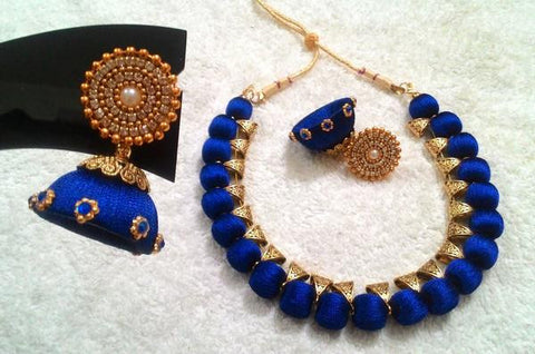 Blue Designer Silk Thread Jewellery Set