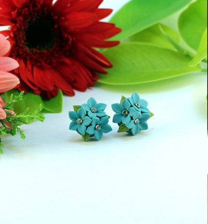 Blue Floral Polymer Clay Studs