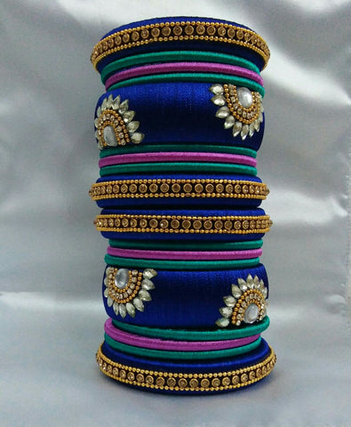 golden white thread bangle kada bangles and silk jewellery