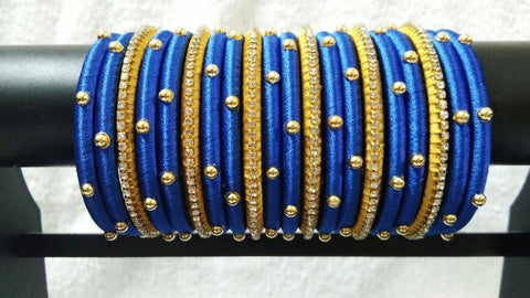 Blue and Golden Silk Thread Bangle Set-STJSW-097