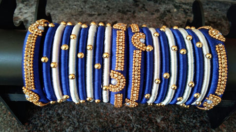 Blue and Gray Beaded Silk Thread Bangle Set-STJSW-061