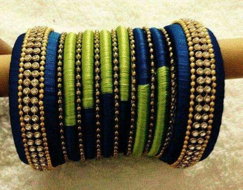 Blue and Green Silk Thread Bangles