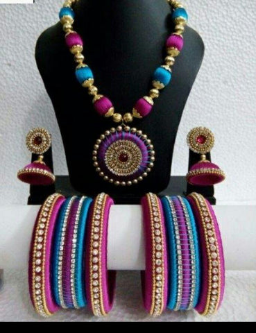 Blue and Pink Round Pendant Silk Thread Jewellery Set-STJSW-112
