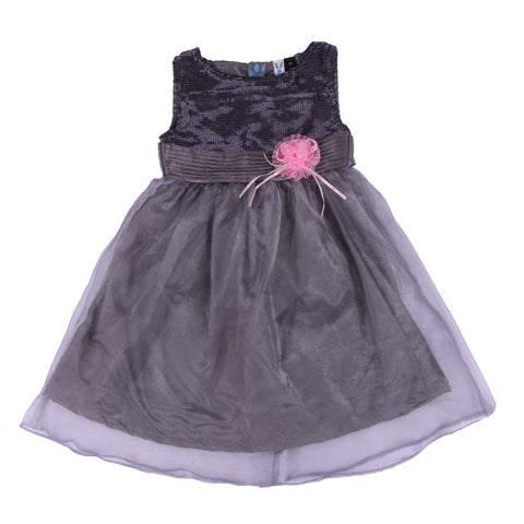 Bubu  Baby Girls Grey Party frock