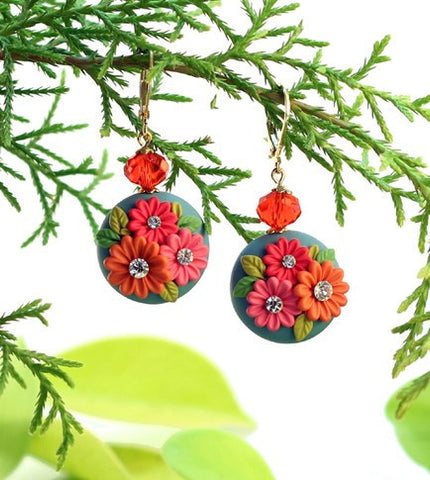 Colourful Flower Round  Polymer Clay Danglers