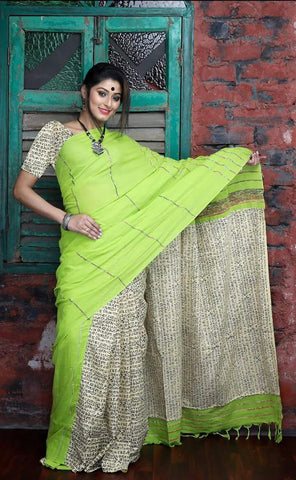 Cotton Printed Kalamkari Saree-CPKS006