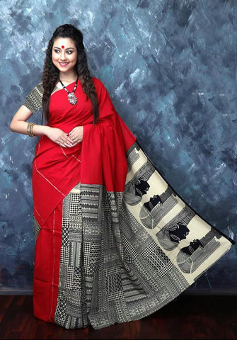 Cotton Printed Kalamkari Saree-CPKS008