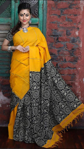 Cotton Printed Kalamkari Saree-CPKS010