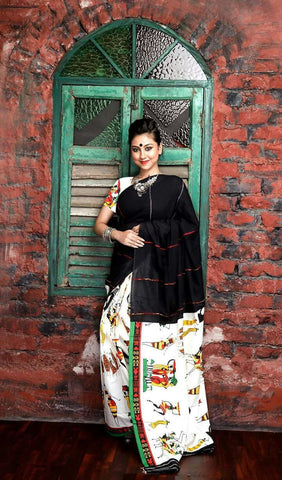 Cotton Printed Kalamkari Saree-CPKS011
