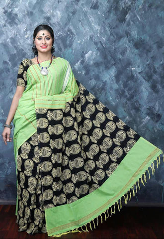 Cotton Printed Kalamkari Saree-CPKS012