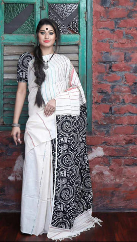 Cotton Printed Kalamkari Saree-CPKS013