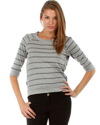 GRAY STRIPE LYSS LOO PULLOVER SWEATER