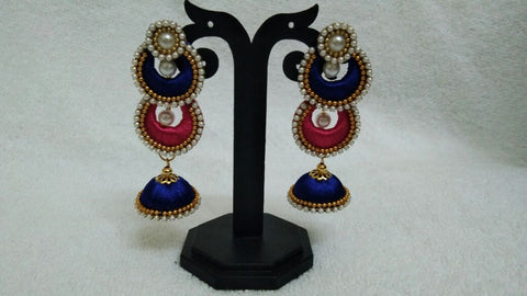 Double Ink Blue and Pink Chandbalis Silk Thread Jhumkas -STJH-060