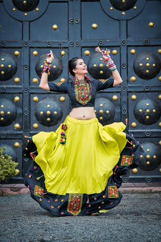 Gleamy Green and Black Lehenga