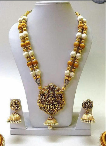 Golden And White Silk Balls With Laxshmi Antique Pendant Silk Thread Jewellery Set-STJSW-013