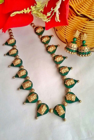 Golden Ganesh Green Leaf Terracotta Jewellery  Set-TJS-063