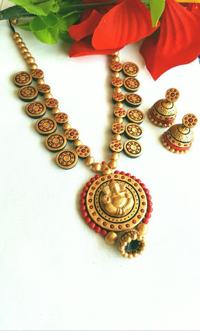 Golden Ganesh Round Terracotta Pendant Set-TJS-059