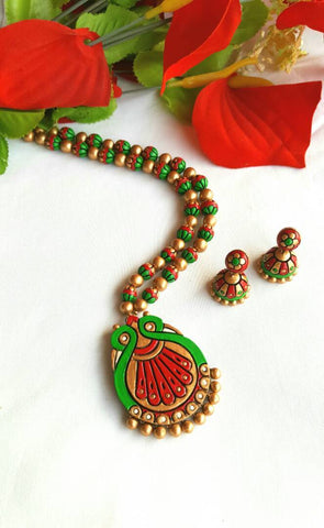 Golden Green and Red  Peacock Pendant Terracotta Jewellery Set-TJS-0012
