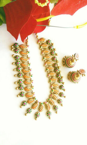 Golden Leaf String Terracotta Jewellery Set-TJS-018
