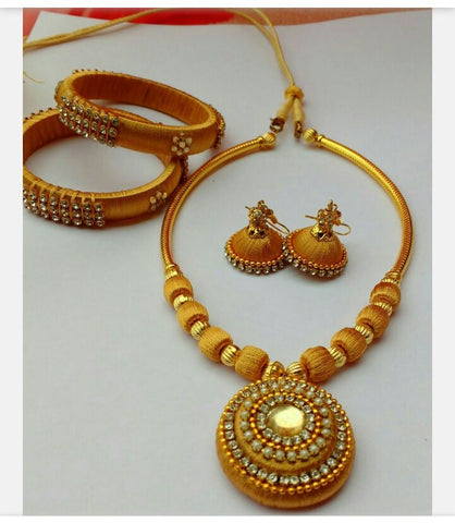 Golden Silk Thread Jewellery Set