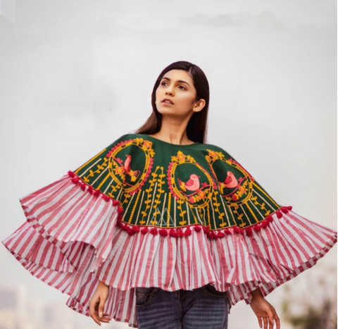 Embroidered Khadi Ponchos Top