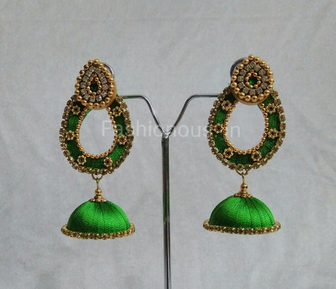 Green Oval Silk Thread Earrings