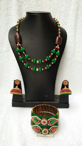 Green and Maroon Silk Thread Jewellery Set-STJS-025