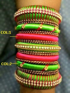 Green and Pink Silk Thread Bangles