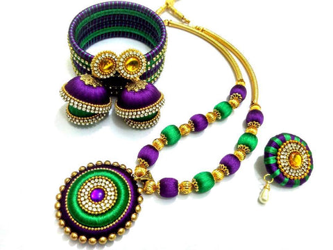 Green and Purple Round Pendant Silk Thread Jewellery Set-STJSW-106