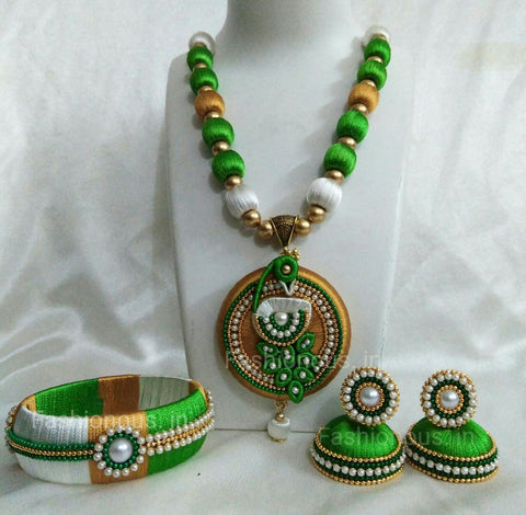 Green and White Peacock Silk Thread Jewellery Set