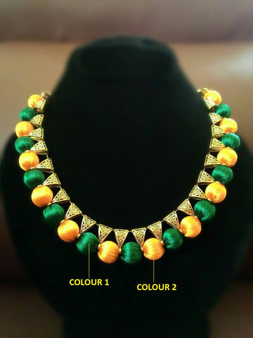 Green and Yellow Silk Thread Metal Necklace